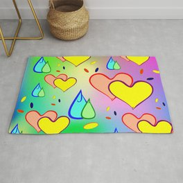 Cheerful drops and heart. The background color or pattern of drops and hearts on iridescent backgrou Rug