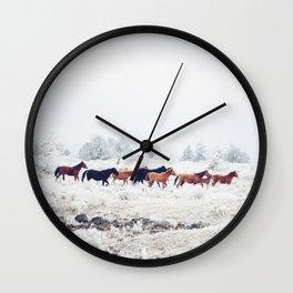 Winter Horse Herd Wall Clock