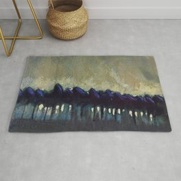 'The Blue Forest' alpine landscape painting by Mikalojus Konstantinas Ciurlionis Rug