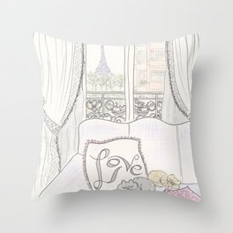 Love Sleeping Cats in Paris with Eiffel Tower View Throw Pillow