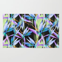 Boldly Colored Tropical Bird of Paradise Flowers Rug