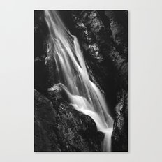 Black and white waterfall in Hell Gorge, Slovenia Canvas Print