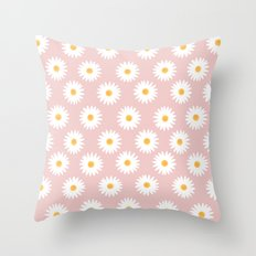 Quartz rose daisy pattern Throw Pillow