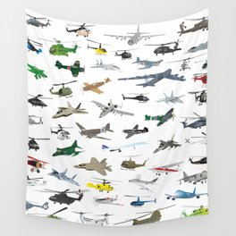 Various Colorful Airplanes and Helicopters Wall Tapestry