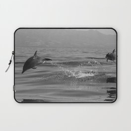 Black and white dolphin race in the ocean Laptop Sleeve