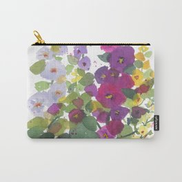 Purple Hollyhock Garden Carry-All Pouch