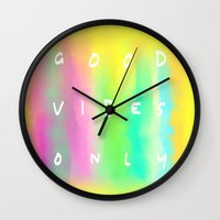 good vibes only Wall Clocks featuring Good Vibes Only by Shirley Starsss
