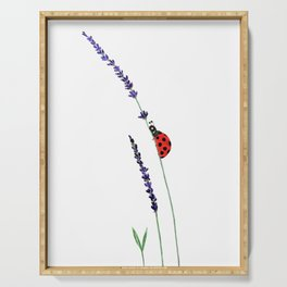 red ladybug and purple lavender Serving Tray