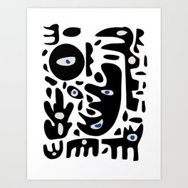Minimal African Art Black and White Pattern Abstract  Art Print