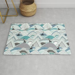 caribou mountains blue Rug