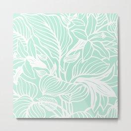 Mint Green Pastel Florals Spring Summer Metal Print