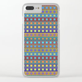 Retro Colors Geometric Stripes Clear iPhone Case