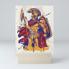 An illustration of a warrior character or sports mascot Mini Art Print