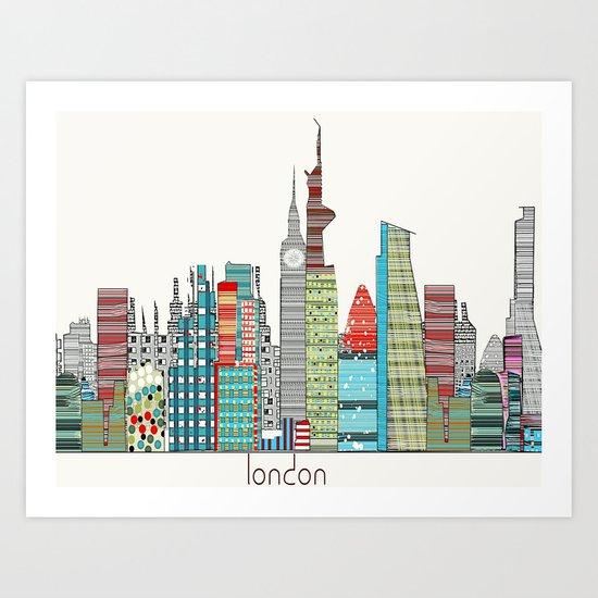 London city skyline  Art Print