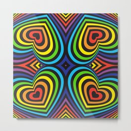 Three-dimensional volumetric pattern. colorful rainbow on black background Metal Print