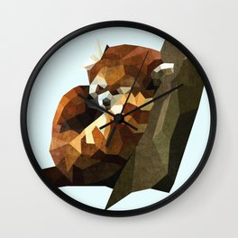 Red Panda Poly Wall Clock