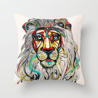 king Throw Pillows featuring Lion by Felicia Atanasiu
