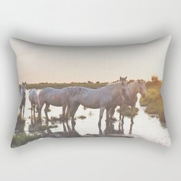 Camargue Horses VI Rectangular Pillow