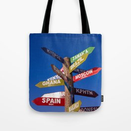 Travel direction road post Tote Bag