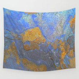 Blue and Orange Marble Pattern Wall Tapestry