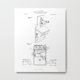 Telephone Toll Apparatus Vintage Patent Hand Drawing Metal Print
