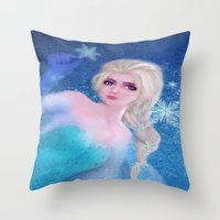 frozen elsa Throw Pillows featuring Elsa Frozen by sazrella illustration