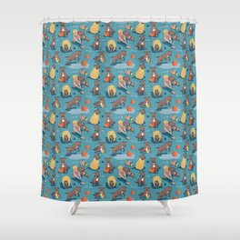 Memories of a Sweet Pit Bull Doggie Friend named Venice // blue linen texture background Shower Curtain
