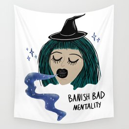 Banish Bad Mentality Witch Wall Tapestry