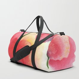 Red Poppies in Watercolor / Loose Wash + Negative Painting Duffle Bag