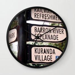 Kuranda Village Signs Wall Clock