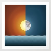 sun and moon Art Prints featuring Sun & Moon by Angelina Fenty