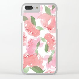 Blush Peony Clear iPhone Case