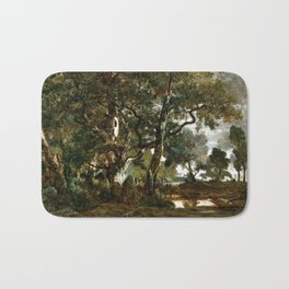 Théodore Rousseau Forest of Fontainebleau, Cluster of Tall Trees Overlooking the Plain of Clair-Bois Bath Mat