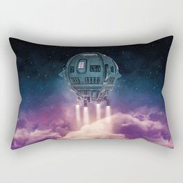 Out of the atmosphere / 3D render of spaceship rising above clouds Rectangular Pillow