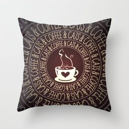 Coffee & Cats & Coffee Throw Pillow