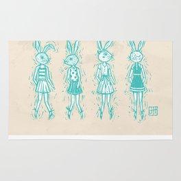 Bunny Girls - cute bunnies woodcut style texture clean creme natural rabbit ears hare cute  Rug