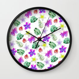 Pink violet green watercolor hand painted hibiscus floral Wall Clock