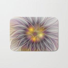 Luminous Flower, Abstract Fractal Art Bath Mat