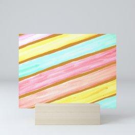 Retro Watercolor Stripes  Mini Art Print