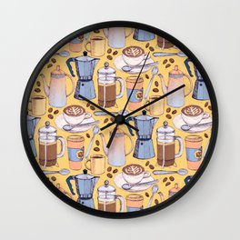 Coffee Love on Yellow Wall Clock