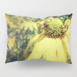 Bees on Yellow Flower Pillow Sham