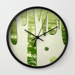 Glittery Green Ocean Dripping On Cream Textured Wall Wall Clock