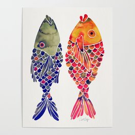 Indonesian Fish Duo – Navy & Coral Palette Poster