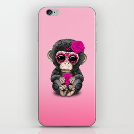 Pink Day of the Dead Sugar Skull Baby Chimp iPhone Skin