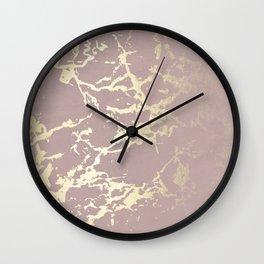 Kintsugi Ceramic Gold on Clay Pink Wall Clock