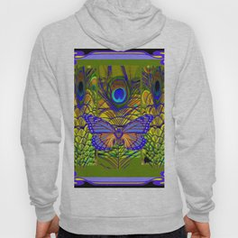 BLUE-PURPLE BUTTERFLY PEACOCK FEATHER PATTERNS Hoody