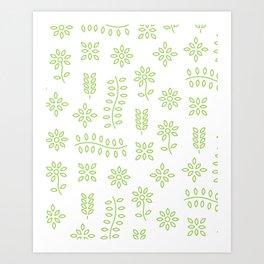 Green Floral Design Art Print