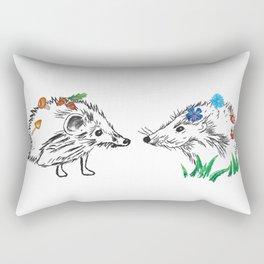Hedgehogs Meeting Rectangular Pillow