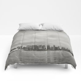 Vancouver Raincity Series - Raincity i - Moody Downtown Vancouver Cityscape Comforters