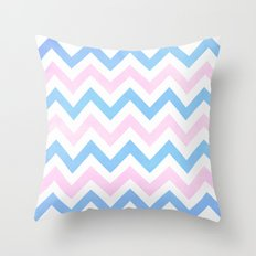 Blue pink Chevron Pattern Throw Pillow